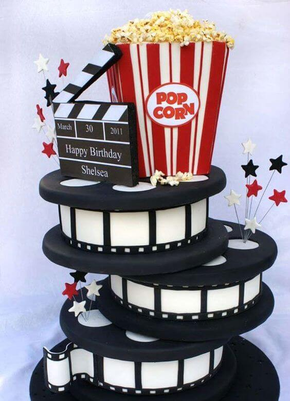 pastel de cumpleaños decoración cine