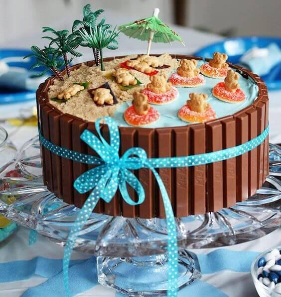 pastel de cumpleaños kit kat