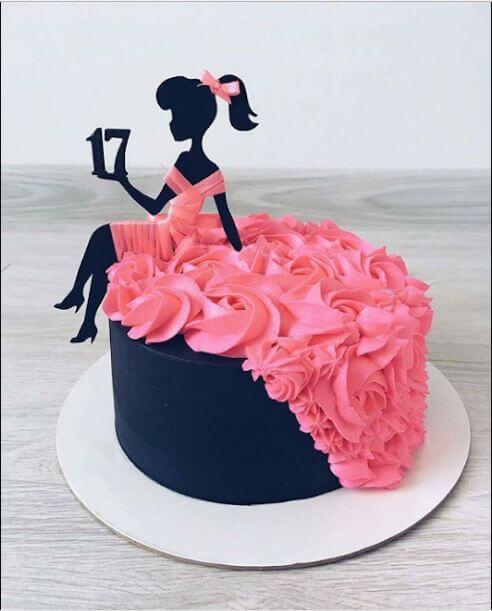 pastel de cumpleaños decorado mujer
